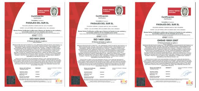 Certificats Paisajes del sur